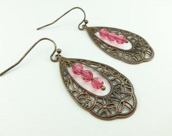Crystal Pink Dangle Earrings Copper Teardrop Dangle Earrings Victorian Style Antiqued Copper Filigree Pink Crystal Earrings