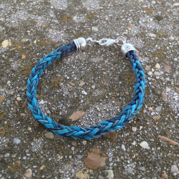 Black/Blue Horse Hair Braided Horsehair Bracelet -  6MM Square Braid