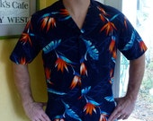 1980s Hawaiian shirt birds of paradise by Jantzen