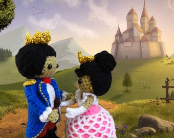 Amigurumi prince and princess crochet pattern PDFs childrens softie toy handmade royal couple doll plush DIY tutorial
