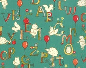 ABC Critters Turquoise from Mind Your Ps Qs by Moda - Half Yard