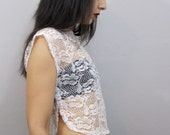 Vintage 80's Sheer White Lace Box Cut Crop Top XS - TimeBanditsVintage