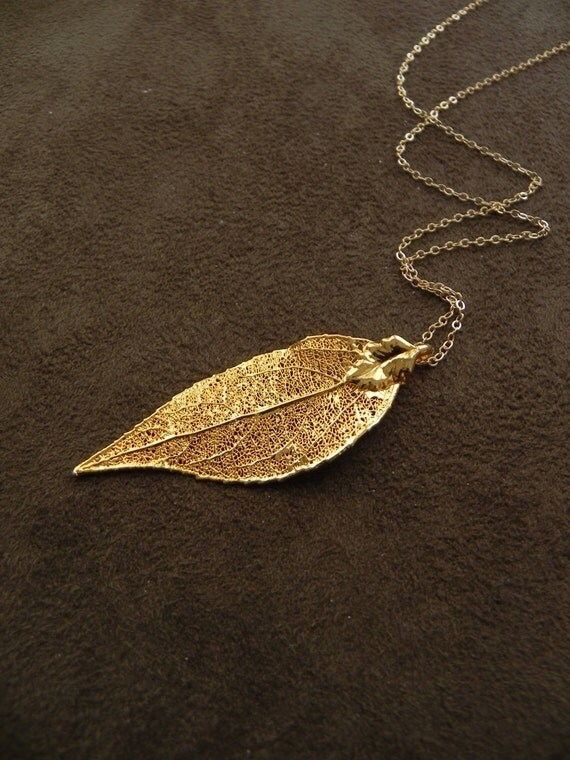 Golden Evergreen Leaf and 14kt Gold Fill Long Necklace