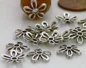 11mm Open Flower Antiqued Silver Metal Bead Caps 20