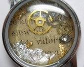 "Steampunk ""Valor"" Resin Watch Case Pendant - Handmade with Book Text, Watch Gears & Rhinestone"