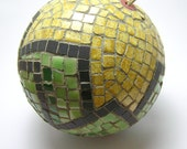 Mosaic Handmade Ornament Ball - Christmas Tree and Home decor - green yellow ceramic tiles