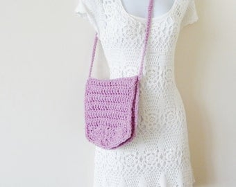 Crochet Lavender Purse - 1960s Style - Hand Made - Floral Lined - Hippie Boho - Festival Shoulder Bag - Recycled - UNIQUE - Girly