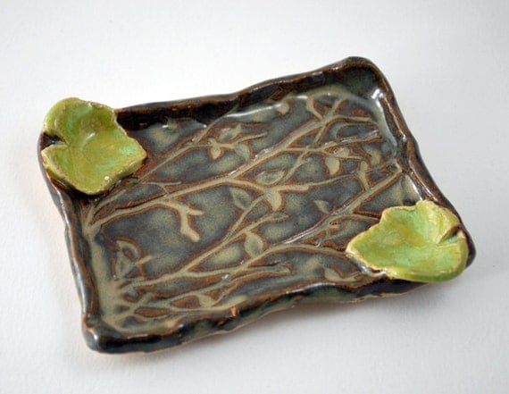 Green Leaf Soap Dish - Stoneware Soap Dish - Hand Built Pottery - Shades of Autumn Browns and Greens