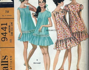 Vintage 1960s Sleeveless Nightgown and Robe Pattern Button Front w Bottom Ruffle...1968 MCCalls 9441 Bust 32.5 to 34 UNCUT