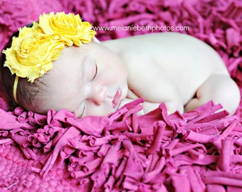 Yellow Flower Headband, Yellow Chiffon Rosettes Duo Yellow Headband or Hair Clip, Newborn Infant Baby Toddler Child Girls Headband