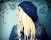 Hand Knit Blue Winter Hat - Slouchy Wool Hat - Lacey Wool Beanie - Chic Winter Hat
