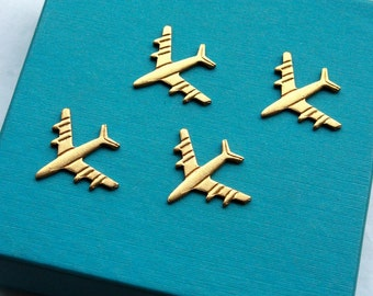 4 Vintage 1960s Brass Airplane Stampings // Catch Me If You Can // 1960s Stewardess