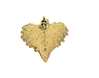Gold Dipped  Cottonwood Leaf Pendant - Real Leaves dipped in Copper then dipped in Gold- 14 K Gold Pendant