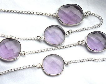 Stunning Bezel set Faceted Amethyst Quartz on Sterling Silver Chain 2 Feet