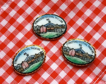 3 Vintage 1960s Oval Enameled Stratford Festival Theater Cabochons // Shakespeare Festival Collectible