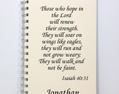 Large Prayer Journal Diary Notebook - Isaiah 40:31 - Wings Like Eagles - Large Journal 8.5 x 5.5 Inches - Ivory