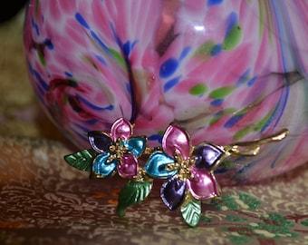 Spring Colors Enamel Flower Brooch