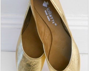 MAYA -  LUXE Ballet Flats - Metallic Leather- 38- GOLD.