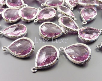 2 Pink faceted unique glass pendants / long pretty pink tear drop glass beads for jewelry making 5060R-PK