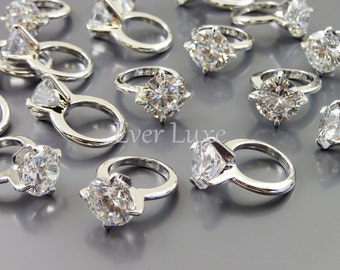 2 mini cubic zirconia 8mm 3D circle engagement rings charms / cz promise wedding rings for jewelry making 1896-BR