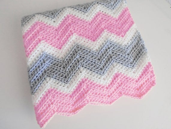 Crochet Chevron Baby Blanket In Soft Pink Off White By