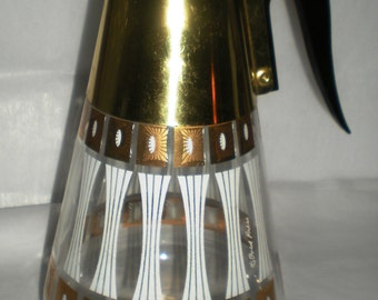 Fred Press Serving Carafe 1950's Modern Glasses - Very Retro - White and Gold