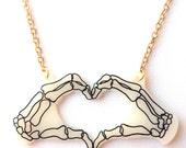 Skeleton Hands Necklace - Halloween Heart Hands - Zombie, Bones, Skeletal, X Ray, Anatomical Hands