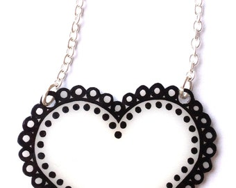 Dotty Heart Necklace - Valentine's - Feminine Lace Border Heart - Black and White Abstract Pattern