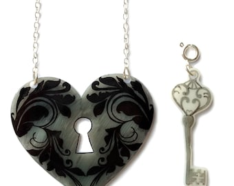 Heart Lock and Key Necklace - Valentine's - Removable Key Charm - Key To My Heart - Black and Grey Fancy Design - Locket Tattoo Inspired