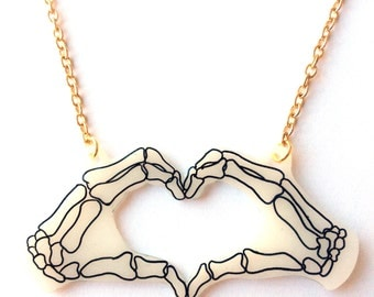 Skeleton Hands Necklace - Halloween Heart Hands - Zombie, Bones, Skeletal, X Ray, Anatomical Hands