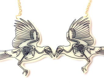 Bird Skeleton Necklace - Halloween, Two Magpies, Crow Wings, Raven Bones, Skeletal, X Ray, Anatomical