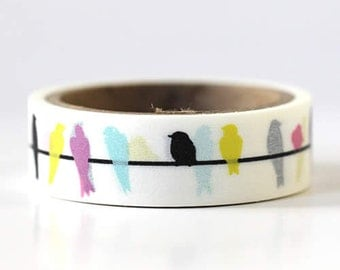 Colorful Mini Bird Washi Tape Bird Mini Birds On Wire