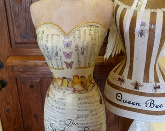 Dress Form Mannequin Vintage Fashion Sheet Music Instruments Custom Business Name Free Shipping And Layaway Available