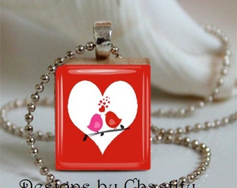 Red Valentine Love Birds Scrabble Charm Necklace