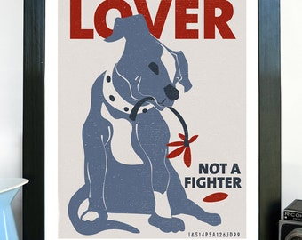 Pit Bull Poster Print, Dog Art, Fine Art Print - Lover Not a Fighter Giclee Print