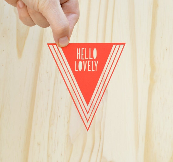 hello lovely . 5 x 7 . hand cut papercut