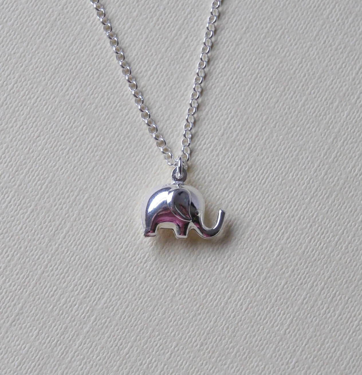 silver elephant necklace sterling silver 3d by littleglamour