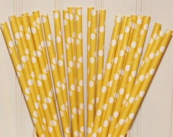 Paper Straws, MADE IN USA, Solid Yellow Dot Paper Drinking Straws, Baby Showers, Rubber Ducky Party, Spring Straws, Sunshine Party,  Easter,