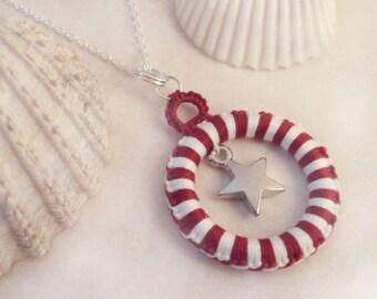 Red, White Nautical Star Pendant in Tatting - Alys