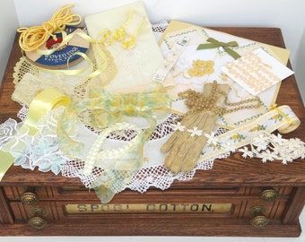 Vintage Lace TRIMS Lot, Sunshine Yellow Shades Crochet, Linen, Handkerchiefs, Ribbon, Beads, Embroidered Tape.  Heirloom S