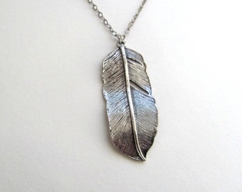 Silver feather pendant necklace on long delicate antiqued silver chain, vintage-inspired
