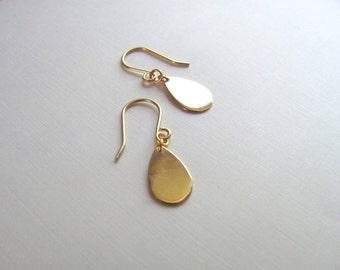 Tiny gold vermeil tear drop earrings, delicate minimalist, geometric jewelry