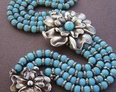 Robyn Estate Vintage Bracelet - Four Strand Sterling Silver Beaded Bracelet