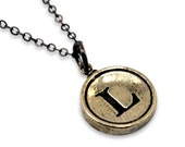 Letter L Typewriter Key Pendant Necklace - Other Letters Available