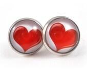 Red Heart Earrings Valentine Jewelry Tween Earrings Red and White Earrings Cute Earring Studs Teen Jewelry Lead & Nickel Free Forever Andrea