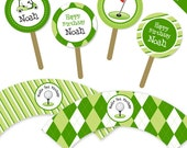 Golf party - Personalized DIY printable cupcake wrapper and topper set