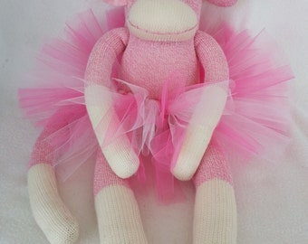 Pink Rockford Red Heel Sock Monkey with Tutu and Bow