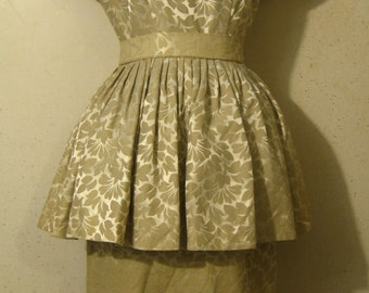 Vtg 50s Dove/Champagne Floral Brocade Peplum New Look  Wiggle Dress S M