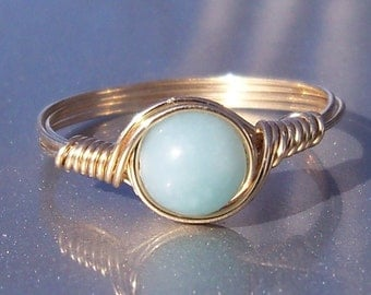 Blue Amazonite Ring, B Grade Amazonite, 14k Gold Filled Ring, Wire Wrapped Ring
