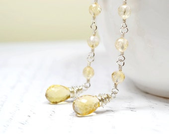 Genuine Citrine Earrings, November Birthstone Earrings, Sterling Silver Gemstone Earrings, Yellow Stone Earrings, November Birthday